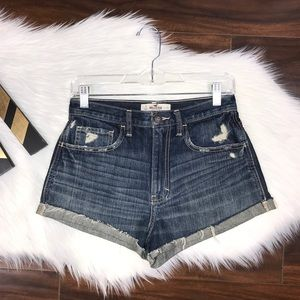 Hollister High Waisted Distressed Cheeky Shorts